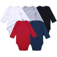 5 PCS/lot Newborn Baby Girls Boys Bodysuit Black White Red Toddler Jumpsuit Long Sleeve Outfit Infant Clothing One piece Solid(China)