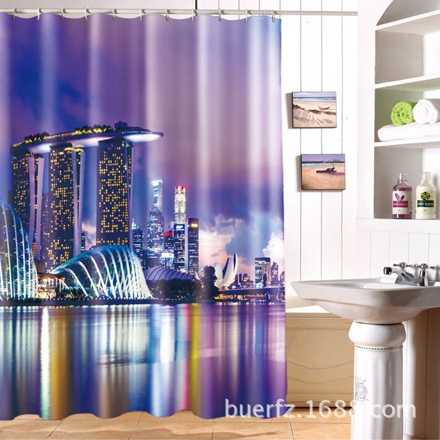Singapores Night View 3D Waterproof Shower Curtain Cool Curtains For Bathroom Free Shipping