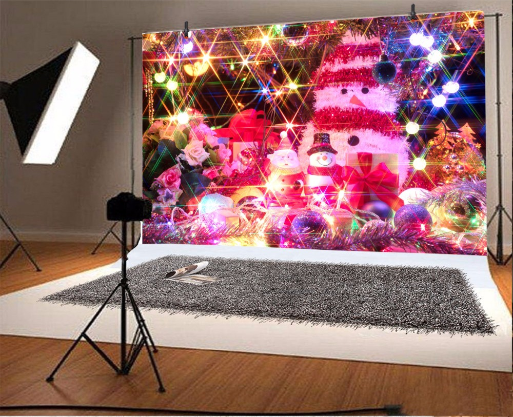 Laeacco Christmas Shiny Light Colorful Snowman Gift Baby Toys Kid Photo Backdrops Photography Backgrounds Photocall Photo Studio in Background from Consumer Electronics