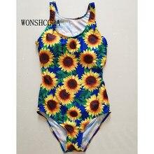 Фотография WONSHCORA 2017 New Sports Sexy Print Swimwear Women One Piece Swimsuit Soft Cup Sunflower Swim Suit U-Shaped Back Hot Bikini Set