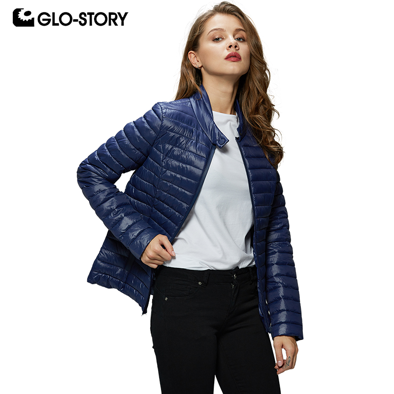 GLO-STORY New Fashion Women Casual Solid Zipper Slim Fit Lightweight Thin   Parkas   Winter Coats Female Winter Jackets WMA-7747