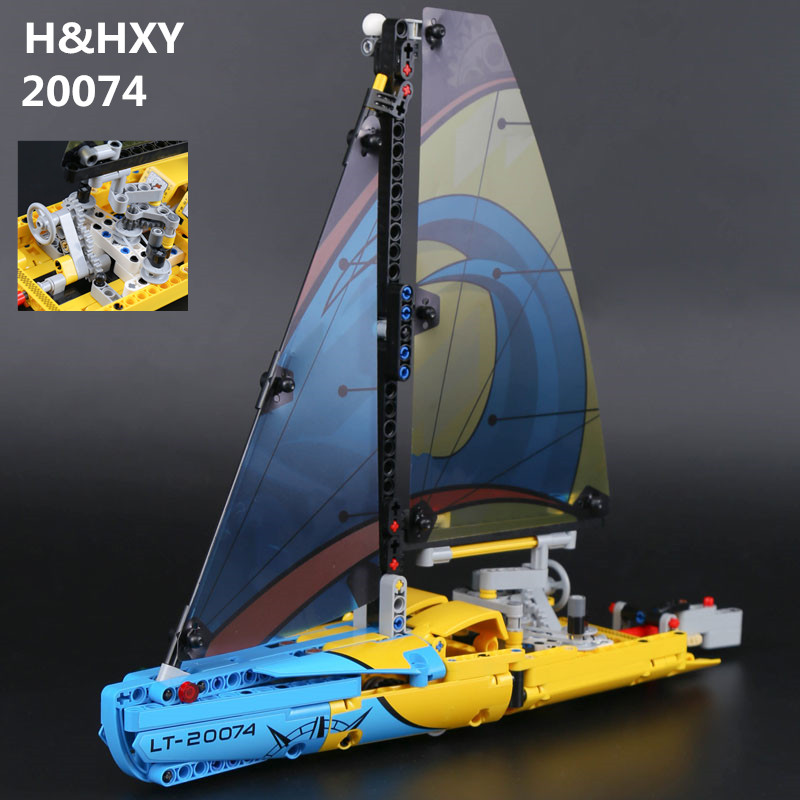 H&HXY IN STOCK 20074 Technic Series The Racing Yacht Set 42074 369Pcs LEPIN Building Blocks Bricks Educational Toys Model Gifts in stock lepin 23015 485pcs science and technology education toys educational building blocks set classic pegasus toys gifts