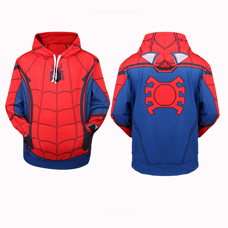 high quality Spider-Man: Homecoming Spiderman Cosplay Costumes 3D Printing Hoodie Sweatshirts Coat Jackets daily casual Sweater
