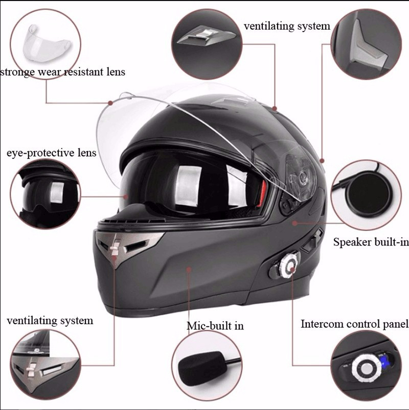 dot approved wireless bluetooth motorcycle full face helmet with bt intercom built in in helmets. Black Bedroom Furniture Sets. Home Design Ideas