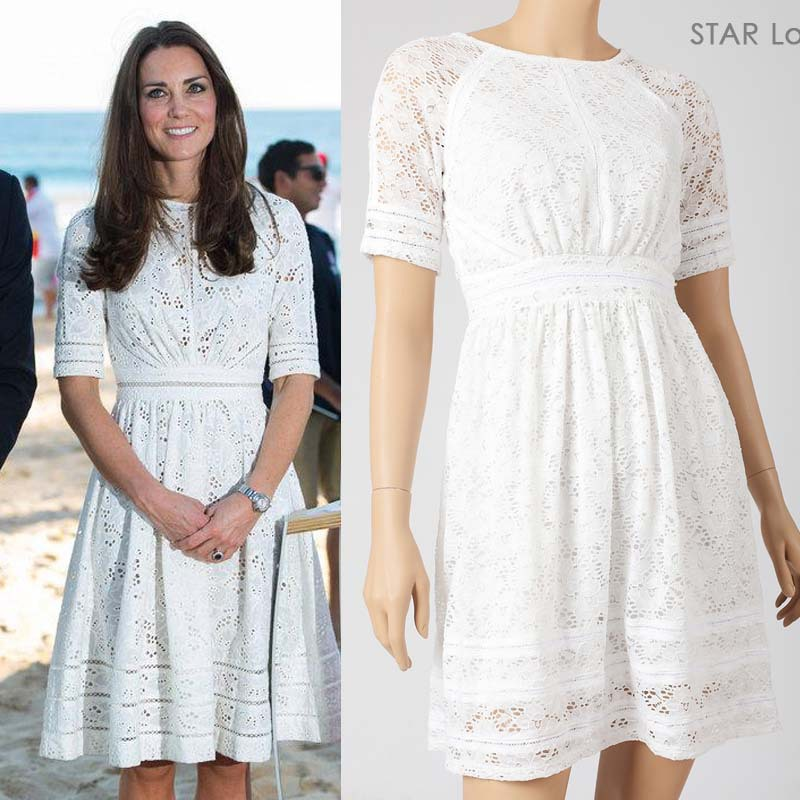 Buy 2015 New Spring Princess Kate Middleton Same Style Laced Dress White Lace
