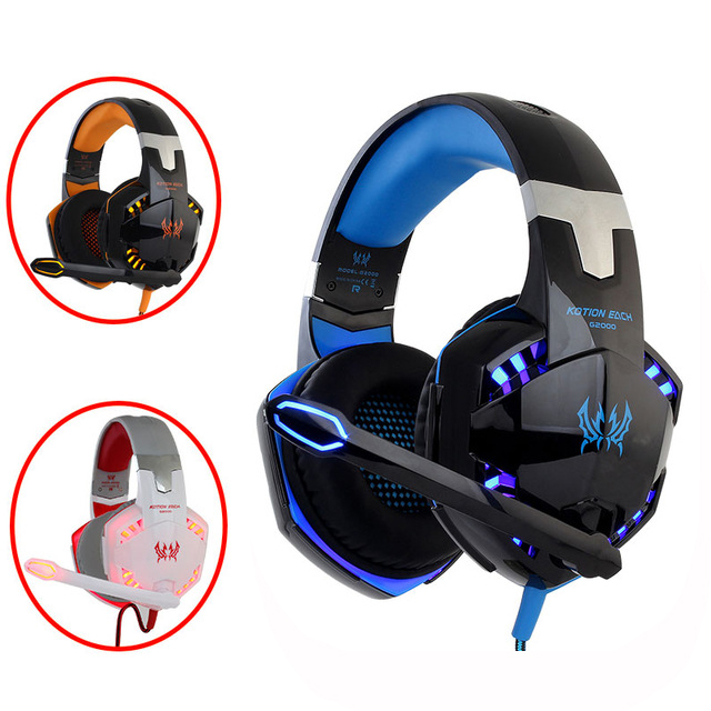 KOTION EACH 3.5mm Stereo Gamer Gaming Headset PC Headphones For Computer With Microphone LED Light Deep Bass Earphone 2016 new universal adjustable headphones earphones with volume control for mp3 mp4 computer gamer supper bass earphone