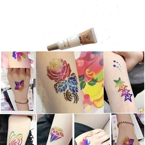 3x30 ml corpo tatuagem temporaria glitter tattoo