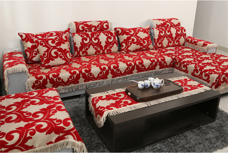jacquard corner couch cover flocked fabric cover sofa home textile leather sofa covers set red chenille slipcovers mat for couchin sofa cover from home