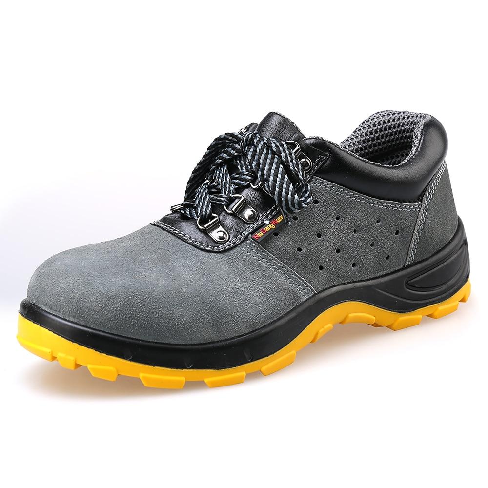 Купить с кэшбэком Men Safety Work Boots Breathable Lightweight Casual Work Shoes Safety Shoes Air-permeable Smash Safety Shoes Male Steel Toe Cap