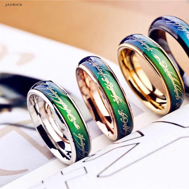 Amantes JAVRICK ECG Batimentos Cardíacos Anéis de Casamento Anel de Humor Mudança de Temperatura de Cor Mágica