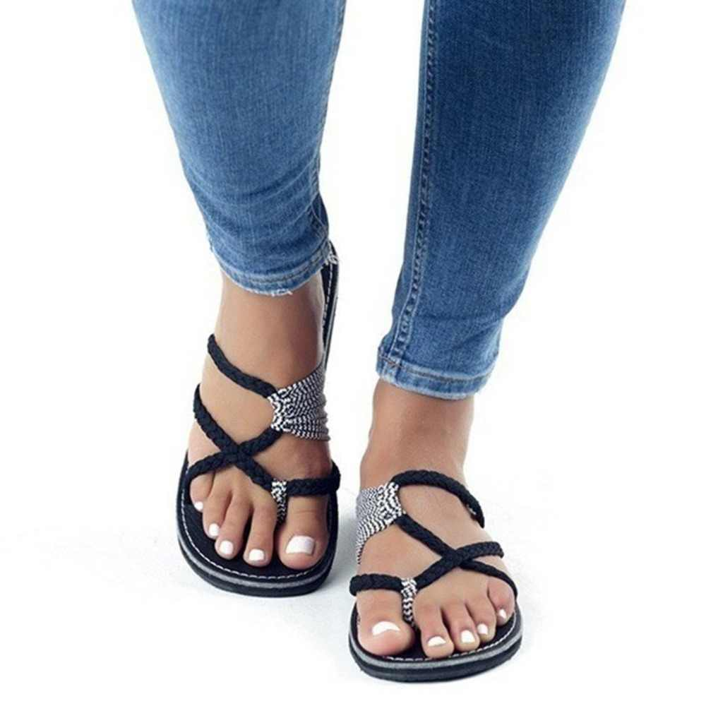 fbf0e218a Detail Feedback Questions about 2018 New Summer Shoes Flat Women Ladies  Sexy Open Tie Nylon Rope Beach Flats Slip on Sandals Large Size Can Choose  on ...