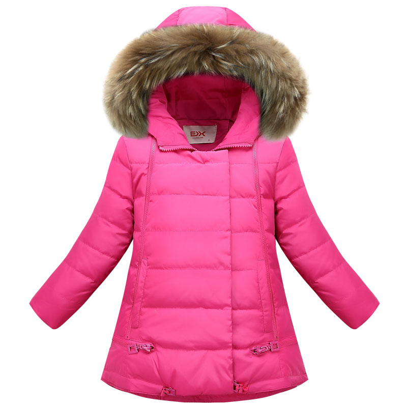 Kids Girls Duck Down Coats Winter Hooded Parkas Long Solid Thicken Warm Fashion Teen Children Clothes 2017 New Korean Coat 13 14 kids clothes children jackets for boys girls winter white duck down jacket coats thick warm clothing kids hooded parkas coat