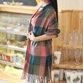 Cachecol de Inverno Xadrez das mulheres Xales e Wraps Marca Senhoras Lenço Mulheres Imitação Cashmere Quente Lenços e echarpes 200*60 cm WJ8048
