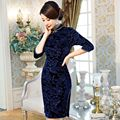 New 3 Colors Plus Size Velour Cheongsam Chinese Traditional Dress Women's Qipao CC285