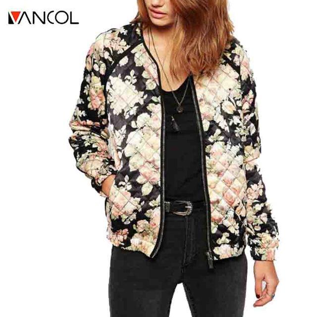2015 New Arrival Black Pink Rose Flower O Neck Cotton Thick Warm Diamond Plaid Zipper Pocket Women Bomber Winter Floral Jacket