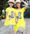 Family clothing sets 2014 summer Cartoon Casual Fashion T-Shirt + pants 2 PCS set Mother and daughter Girls clothing set