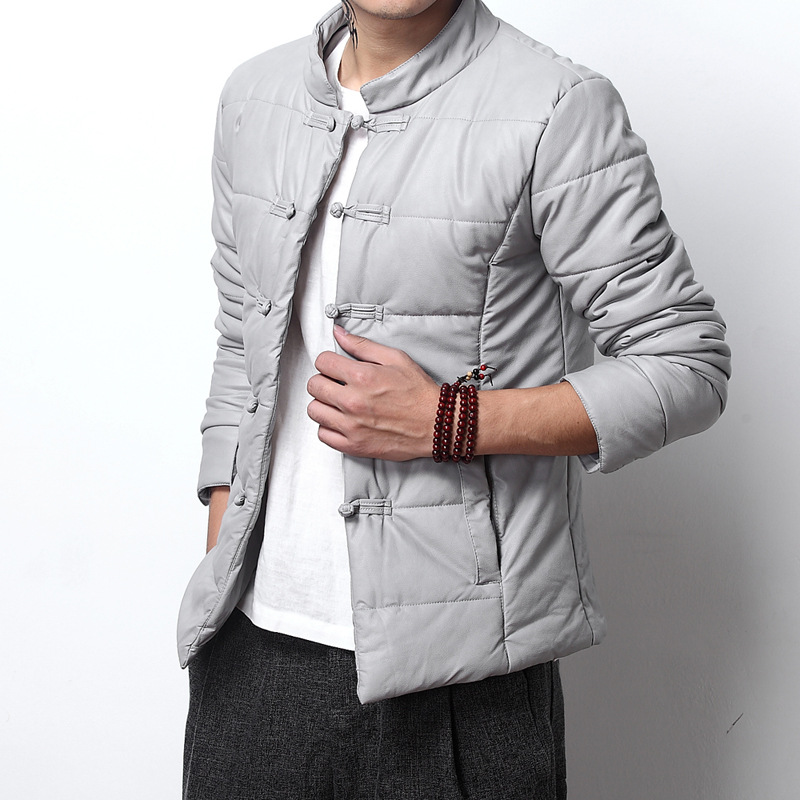 The Winter Wind, Cotton Mens China Retro Men Short Big Feather Padded Jacket Jacket Chinese Costume Code