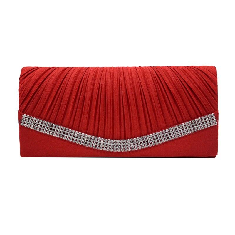 Women Satin Clutch Bag Rhinestone Evening Purse Ladies Day Clutch Chain Handbag Bridal Wedding Party Bag Bolsa Mujer 2018 XA1080 7