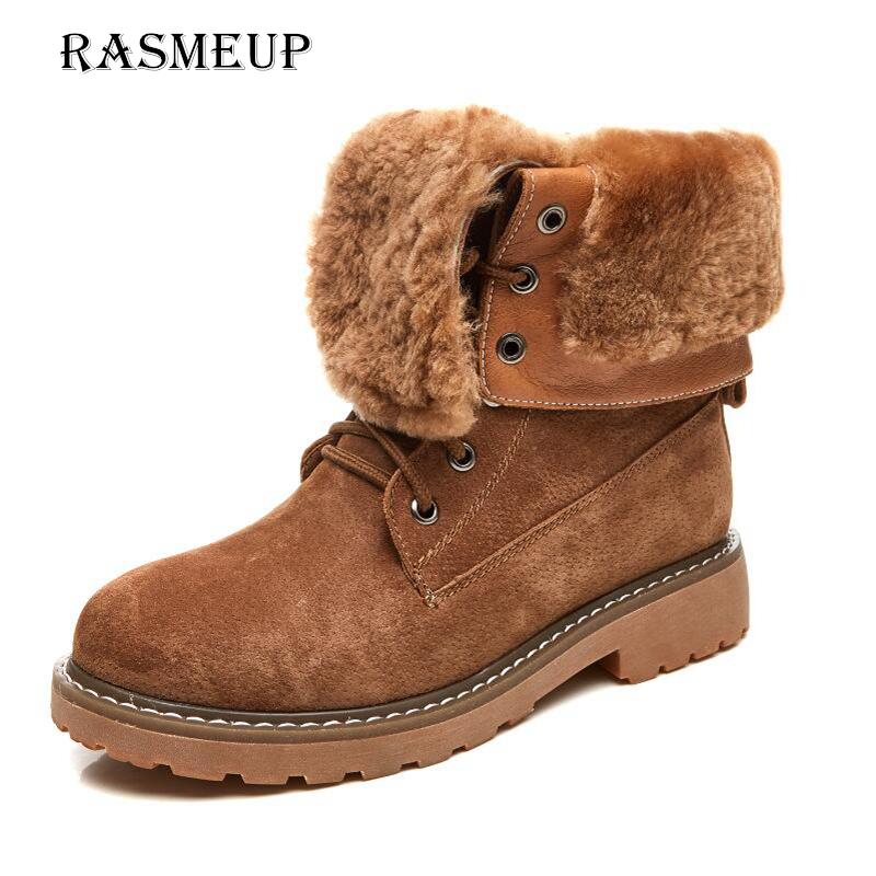 RASMEUP Genuine Leather Fur Lace-up Women's Martin Boots Winter Thick Warm Plush Women Mid Calf Snow Boots Woman Military Shoes lovexss genuine leather chelsea boots fashion warm plush high lace up woman martin boots black brown thick with bullock shoes