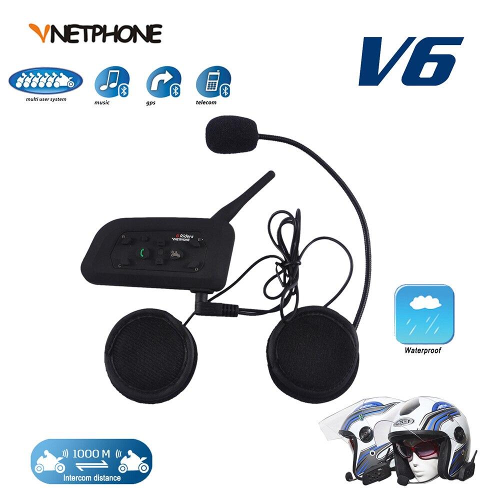 VNETPHONE casque casque Bluetooth Interphone pour Moto casque sans fil Bluetooth Interphone 1200 M 6 coureurs 2 pièces