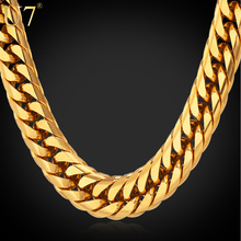 U7 Big Chunky HipHop Gold Chain For Men Jewelry Wholesale Yellow Gold Plated 71CM 13MM Thick Stainless Steel Long Necklace N453