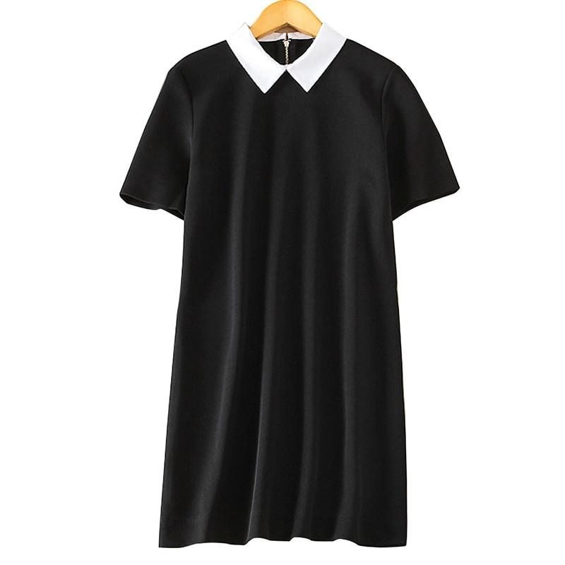Women black white office Dress cute peter pan collar short sleeve loose casual Vestido feminina Europen style dress QZ2204|office dress|dress stylestyle dress - AliExpress