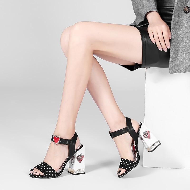 Mujer Marca Cuero Negro Karinluna Alto Las 2019 Zapatos Piel Tacón E2ID9WH