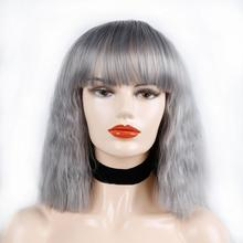 Water Wave Bob Wigs With Full Bangs 10inch Short Wigs For Women  Synthetic Wigs Brown Purple Black Red Pink Gold Grey Wigs