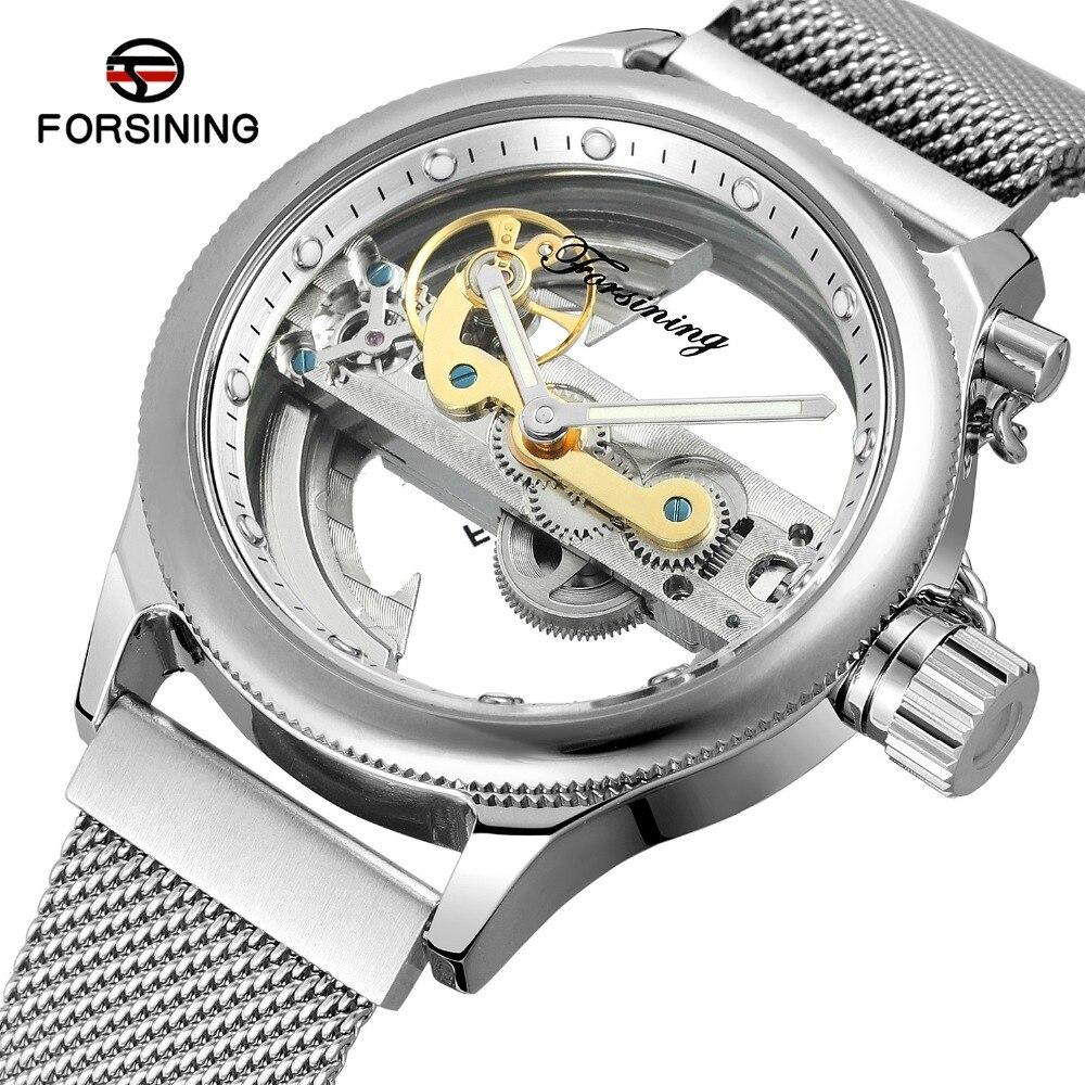FORSINING Men s Skeleton Self winding Luxury Brand Stainless Steel Bracelet New Design Wrist Watch Best