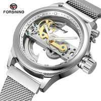 FORSINING Men's Skeleton Self-winding Luxury Brand Stainless Steel Bracelet New Design Wrist Watch Best Male Clock FSG9418M4