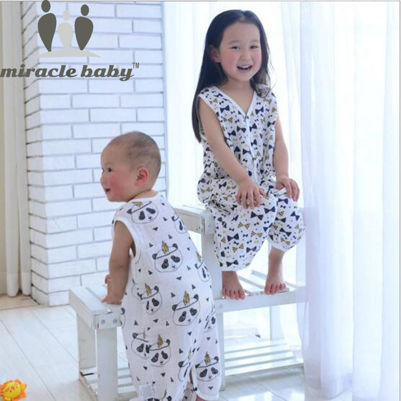 Miracle Baby Cotton Muslin Baby Sleeping Bag Single Layer Kids Sleepwear Summer Infant Sleepsacks Size S,M,L For 0-6 Years