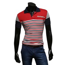 Summer 2016 Men's quick sleeve Slim lapel standard males's informal striped Polo Shirt yp006