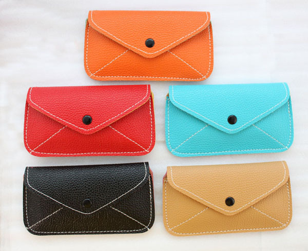5PCS Mixed Colours PU Leather Envelope Mobile phone Bag Cell Phone Case,free shipping