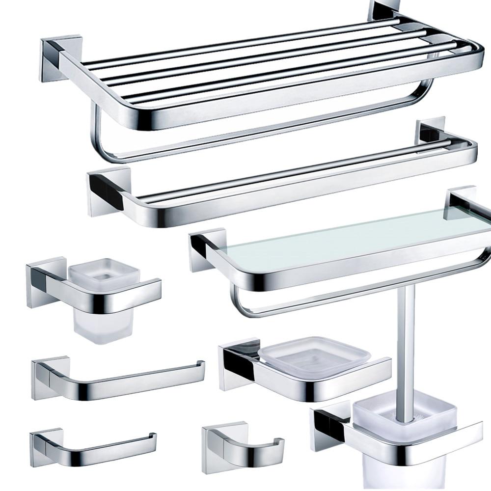 Stainless bathroom accessories - Auswind Stainless Steel Chrome Finish Bathroom Hardware Set Wall Mounted Polish Bathroom Accessories Set N200