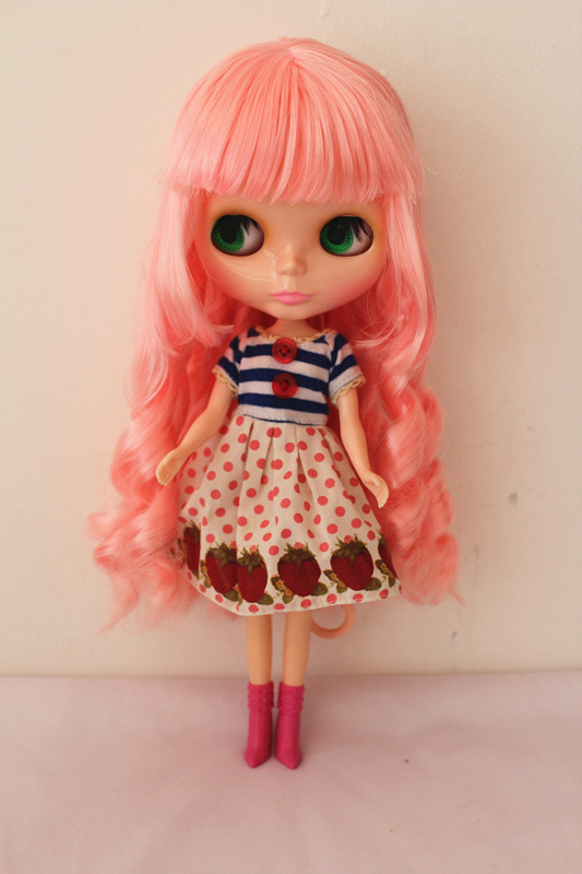 Blygirl Blyth doll Pink bangs hair normal body 7 joints No.2830 1/6 body DIY dolls for their own makeup free shipping nude blyth doll pink hair big eye doll for girl s gift pj002