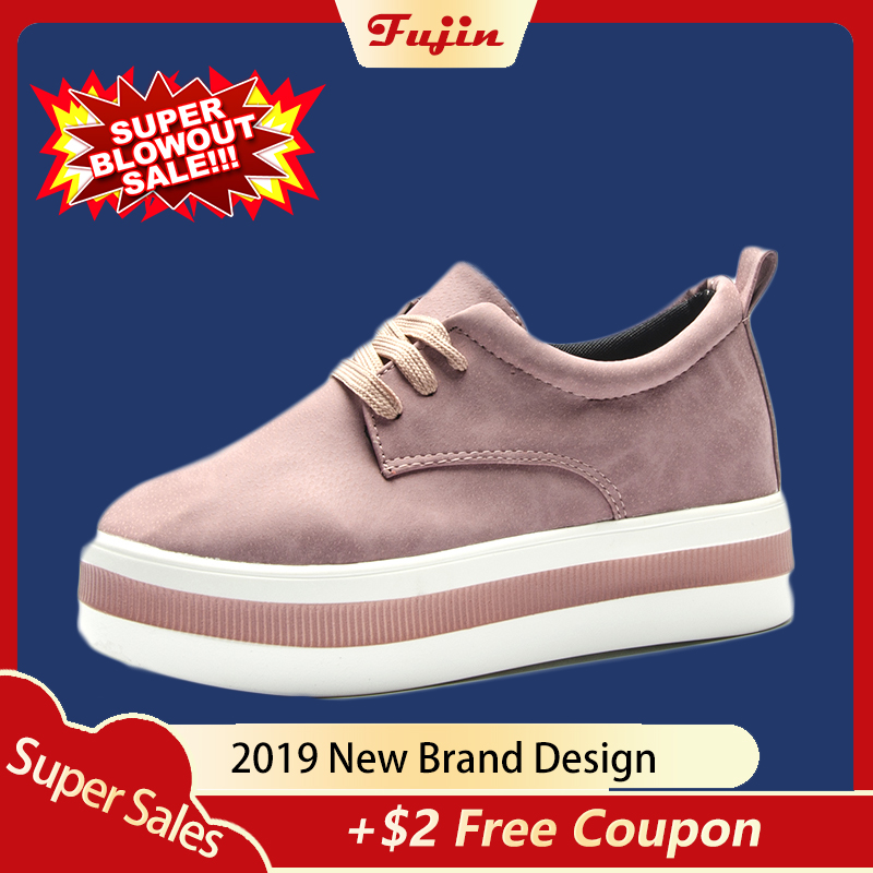 fujin women flats sneakers shoes 2019 spring  moccasin Fashion creepers shoes lady loafers Ladies Slip On 5CM platform Shoes(China)