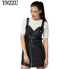 YNZZU Leather Dress Women Autumn Winter 2017 Chic Vintage Sleeveless Black PU Leather Dress Women Casual Dress YO257