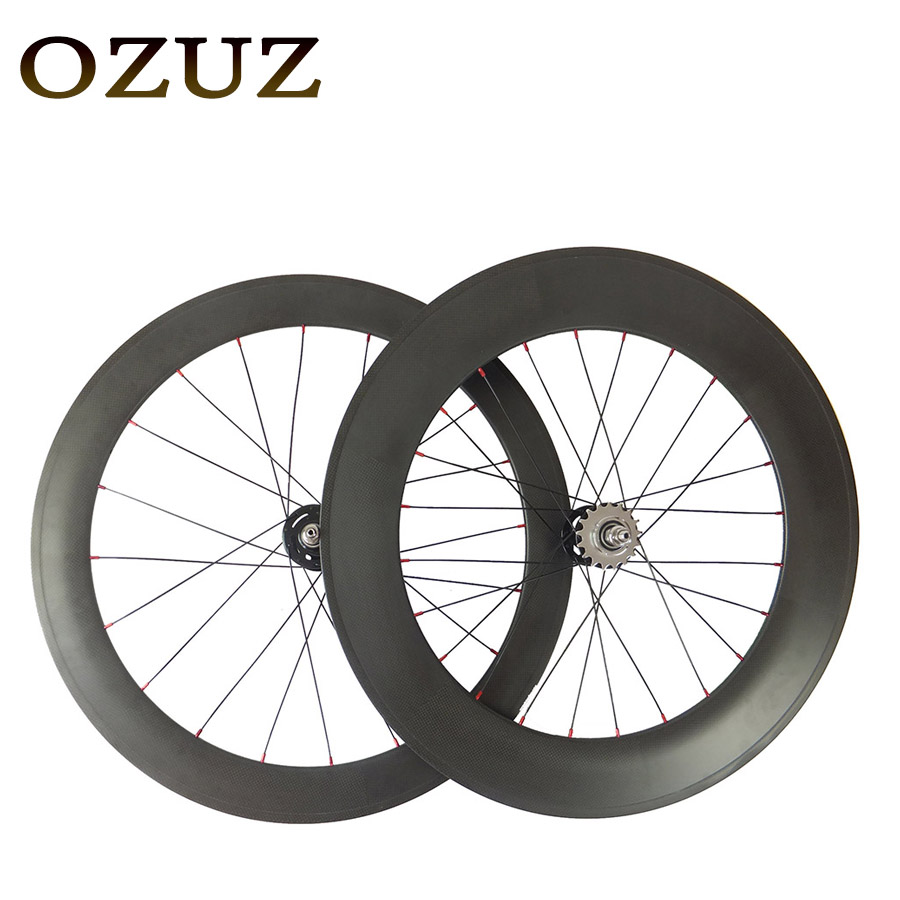 OZUZ Track Fixed Gear 60+88mm Clincher Front 20H Rear 24H 3K Matte or Glossy Carbon Track Wheels Road Bike Bicycle Wheel track fixed gear front 38mm rear 50mm depth clincher single speed carbon track wheels road bike bicycle wheel 3k matte or glossy