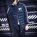 2015 de Invierno Nueva Capa de Los Hombres Coreanos Chaqueta de Béisbol de Impresión de Cuello Delgado Largas Secciones Capa Gruesa Chaqueta Acolchada Chaqueta de Bombardero hombres