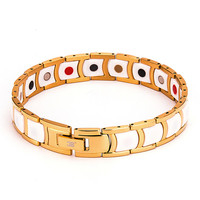 2016 Fashion White Ceramic Bracelet With Gold Plated Health Energy With Magnetic FIR Ion Steel Bracelets