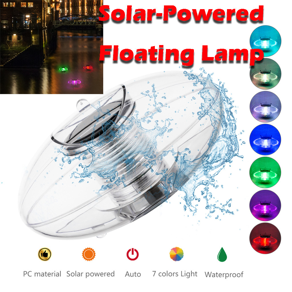 Light Control Automatic Solar Led Fountain Lights Colorful Water Float Pond Lights Remote Control Swimming Pool Landscape#sw
