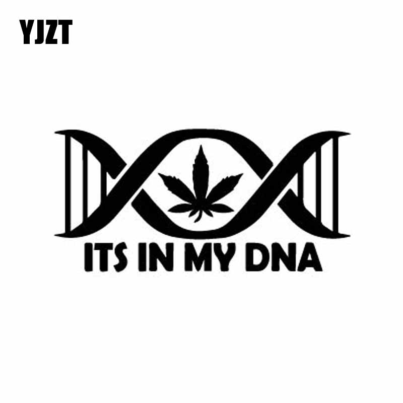 YJZT 15.7CM*7.6CM Its In My DNA Leaf Pot Weed Vinly Decal Dazzling Car Sticker Cool Black/Silver C27-0287