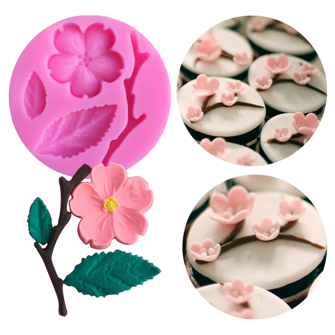 Candy Mould 1PC Peach Blossom Shape Fondant Molds Cake Decorating Tools Chocolate Mold Soap Cake Stencils Kitchen DIY Tools