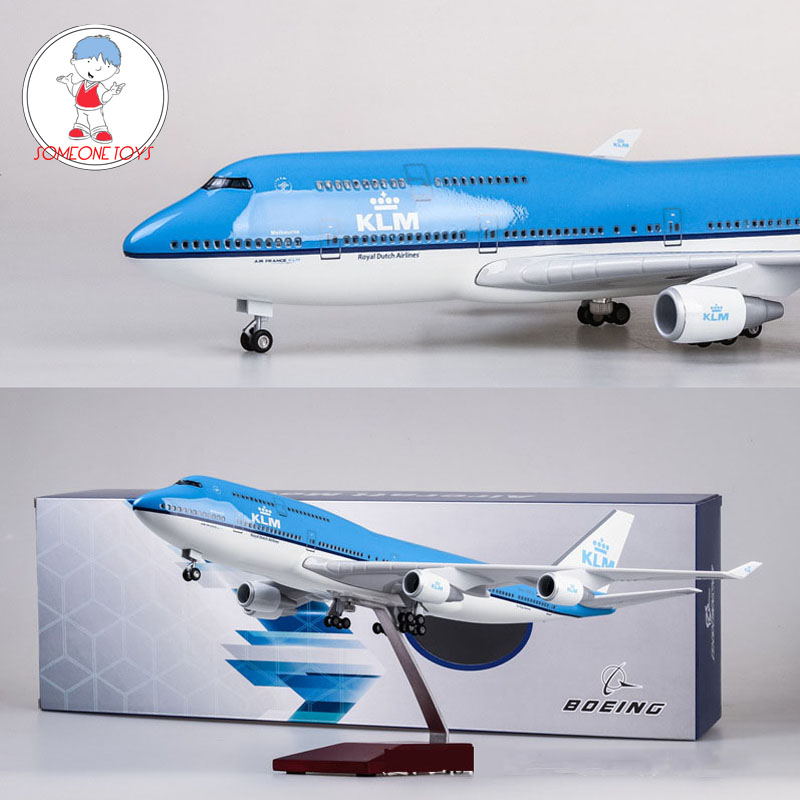 47CM 1/157 Scale Airplane Neitherland Airliner Model 747 Boeing B747 KLM Royal Blue White Dutch Airline Collectible High Quality