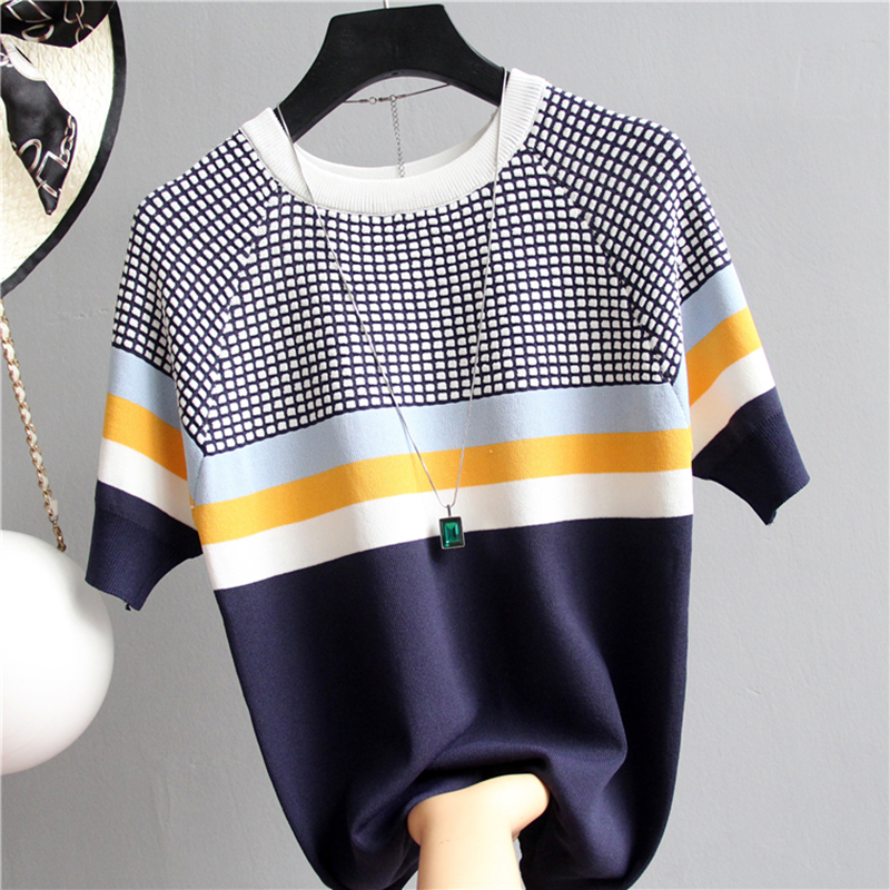 Shintimes Blusas Mujer De Moda 2019 New Vintage Ladies Tops Striped Summer Blouse Pink Elasticity Short Sleeve Blue Women Blouse