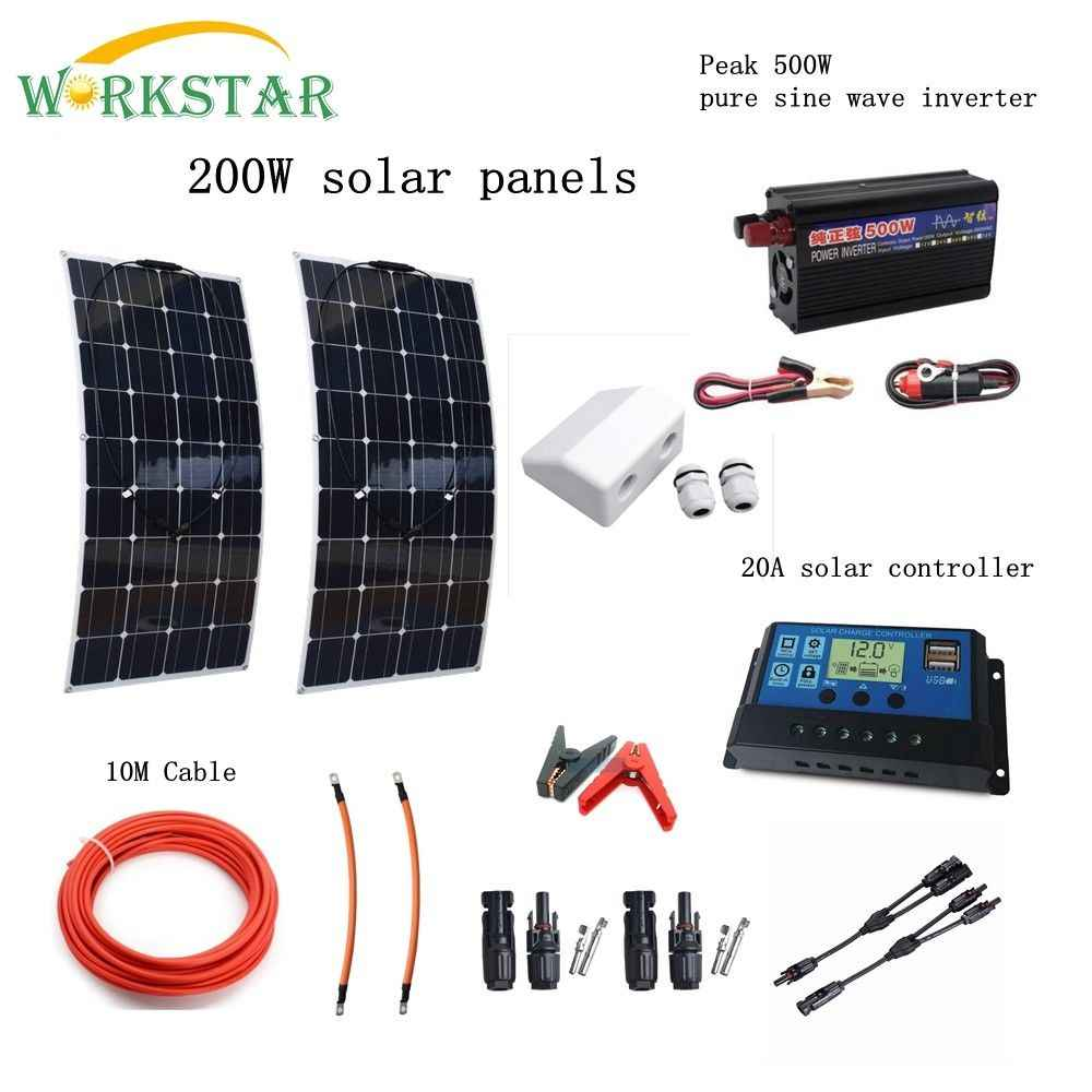 WORKSTAR 200W Solar System for Beginner 2X100W Solar Panels 500w Inverter with Installation Accessories For Yacht RV Boat