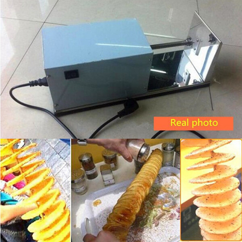 Electric spiral potato cutter automatic tornado vegetable sausage slicer twister automatic electric twister tornado potato spiral curly cutter slicer machine