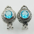 New Blue Simulated Topaz Woman 925 Sterling Silver Crystal Earrings TE516