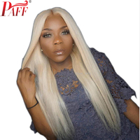 PAFF #613 Golden Blonde Full Lace Human Hair Wig Silky Straight Brazlian Remy Hair Wig With Baby Hair Around Middle Part