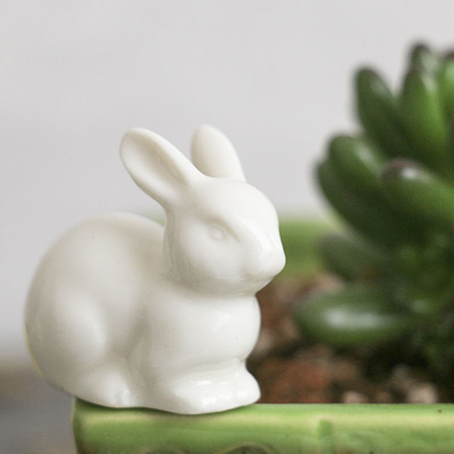 Lovely ceramic rabbit family hare nordic style white home decoration desktop ornaments big ear Furnishing craft fairy landscape 3